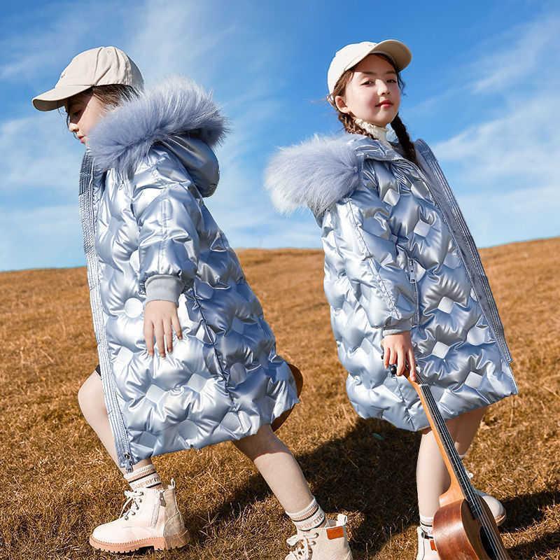 2020 겨울 어린이 반짝이 자켓 여자 패션 모피 후드 파카 키즈 방수 야외 따뜻한 코트 십대 면화 겉옷 Q0827