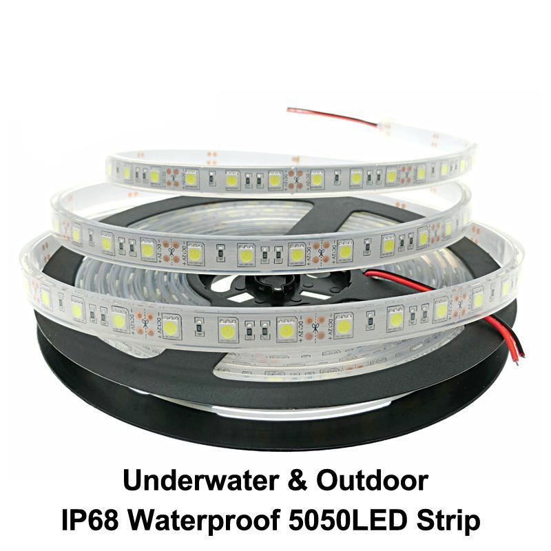 IP67 IP68 Striscia LED impermeabile 5050 DC12V di alta qualità Sicurezza esterna Sicurezza esterna RGB LED Strip Light 300LEDS 60LEDS / M 5m / lot