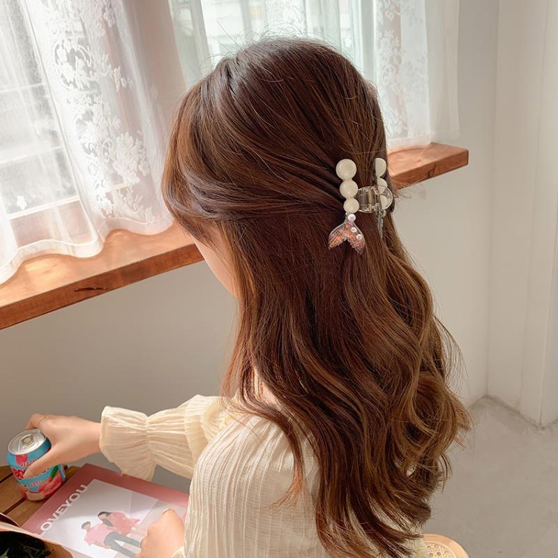 Аксессуары для волос Женщины Девушки Милые Жемчужные Рыбные Хвосты Пластиковые Сладкие Украсить Barbrete Clip Hairpin Мода