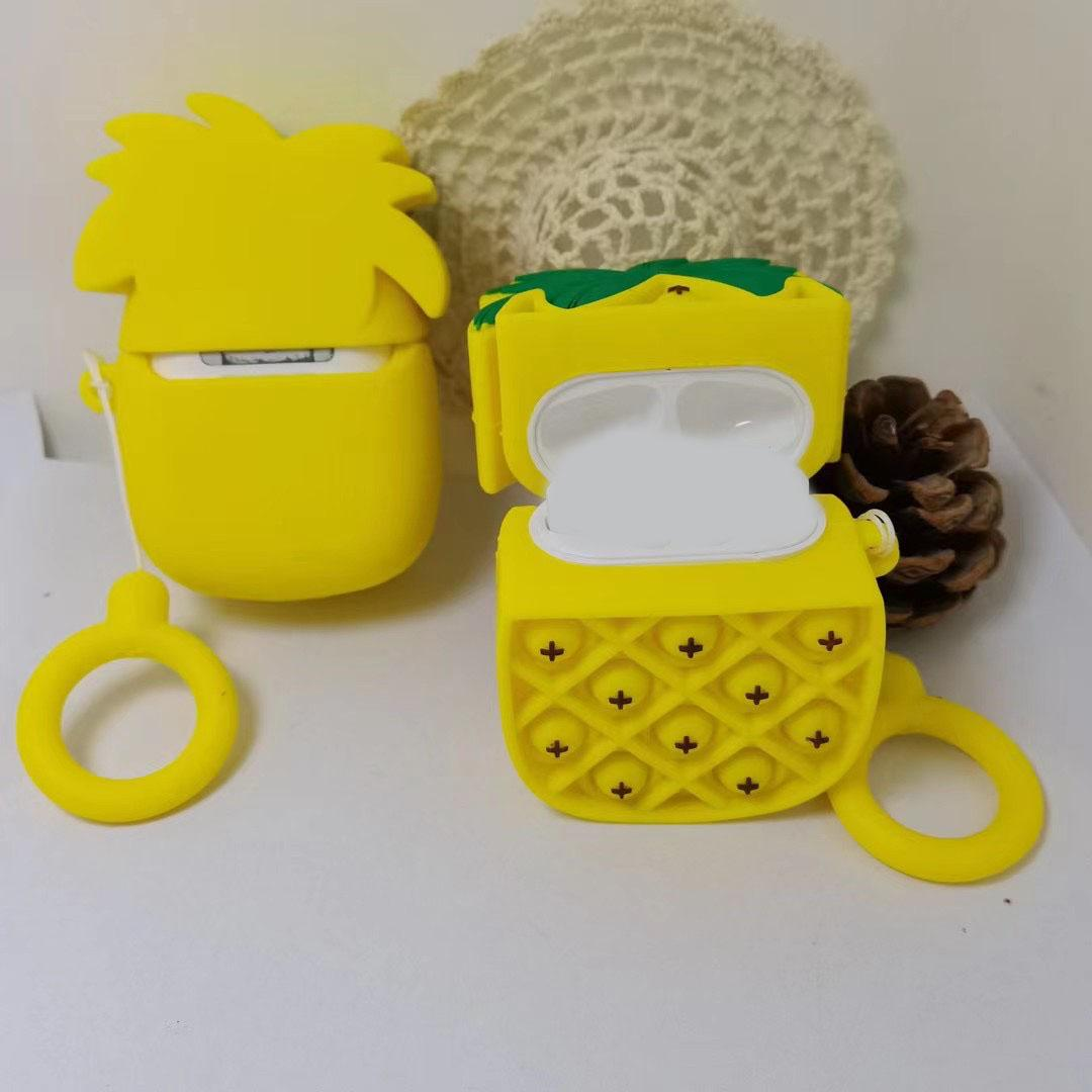 3D Fruit Pineapple Soft Silicone Cases For Airpods Pro Air Pod 1 2 gen AirPod Decompression Protective Cover Push Pop it fidget With Lanyard Strap Fashion Skin Pouches