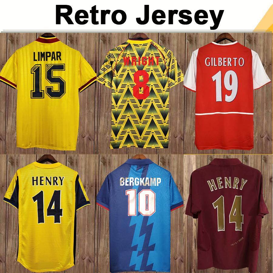 02 05 Henry Bergkamp V. Persie Mens Retro Jerseys de fútbol 94 97 Vieira Merson Adams Home Aloy Aley Football Football Shirt Uniformes de manga larga corta