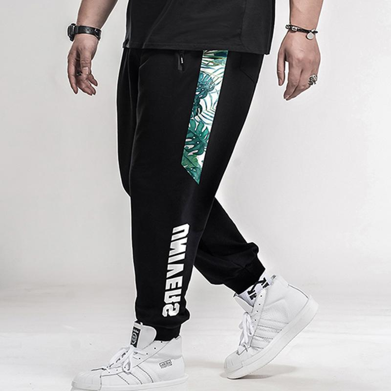 Streç Elastik Pantolon Trendy Marka Guard Palmiye Yaprak Yağsız Kelime Yağ Büyük Boy L-7XL Erkekler Gevşek