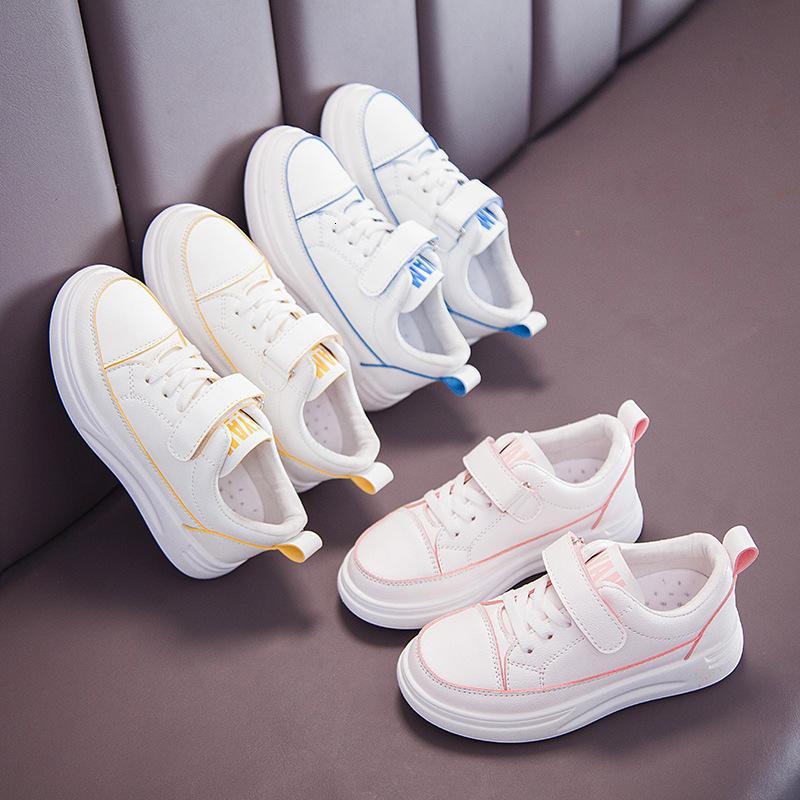 Girls '2021 Весна Новый Детский Досуг Спортивные Спорт Маленькие Маленькие Мальчики «Одиночная обувь» Студенты Студенты Белая Совет