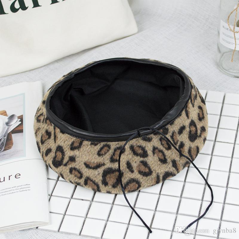 Per mantenere il caldo caldo cappello da donna carino berretto vintage cappelli per le donne leopard feltro cappello beanie woolen inverno cappello invernale 2020 Berretto da donna con visiera