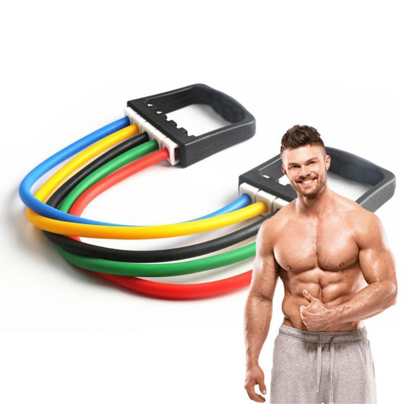 Yoga Beş Tüp Çekme Halat Spor Göğüs Genişletici Rubbere Elastik Egzersiz Spor Lateks Direnç Bantları