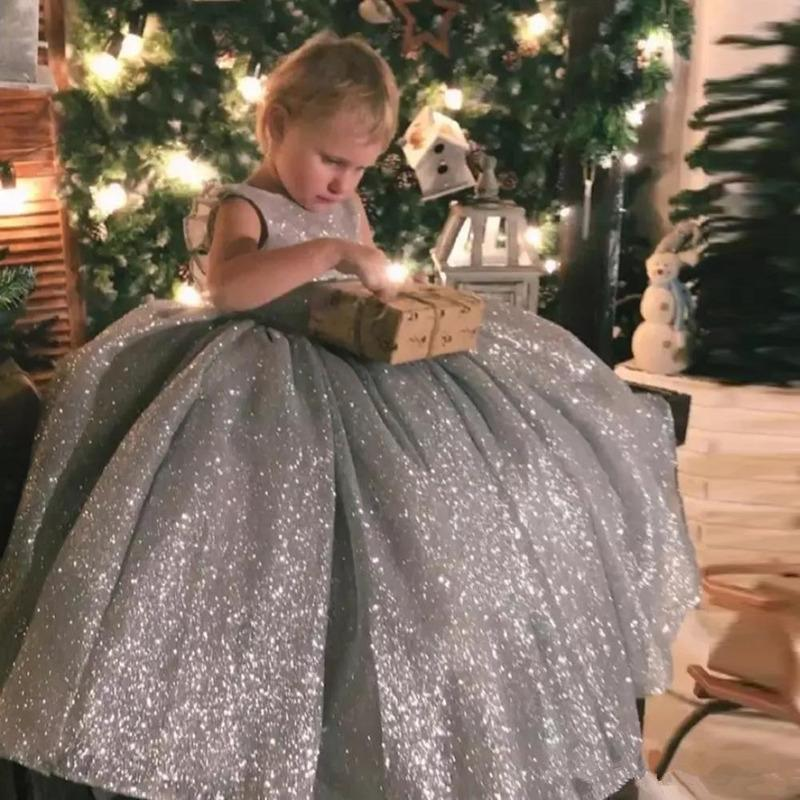 Girl's Dresses Shiny Silver Flower Girl Dress Sleeveless Fluffy Little Princess Birthday Party Pageant Gown Holy Communion Ball 2021