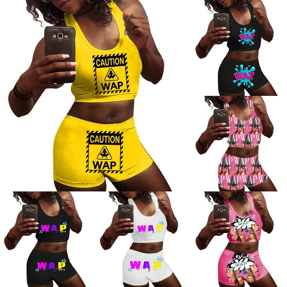 Women Tracksuits Two Pieces Yoga Pants Sexy Slim Letters Printed Vest Shorts Set Ladies Fashion Outfits Sportwear Hot Pants 2021