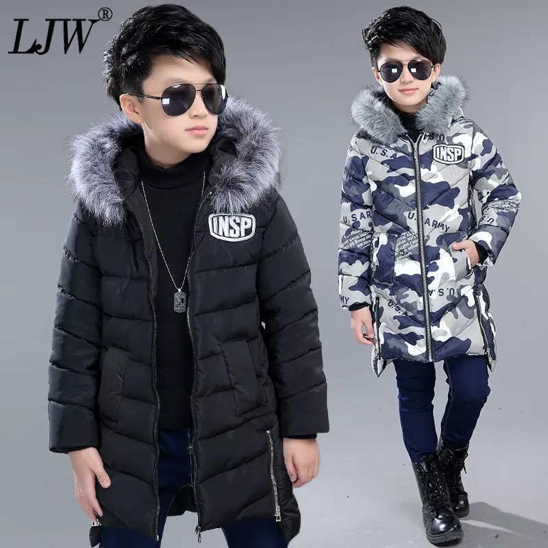 소년들에게는 십대 재킷을위한 4-14 재킷, 두꺼운 따뜻한 자켓 모피 칼라 긴 소년의 옷 어린이 두려워 자켓 코튼 코트 Q0827