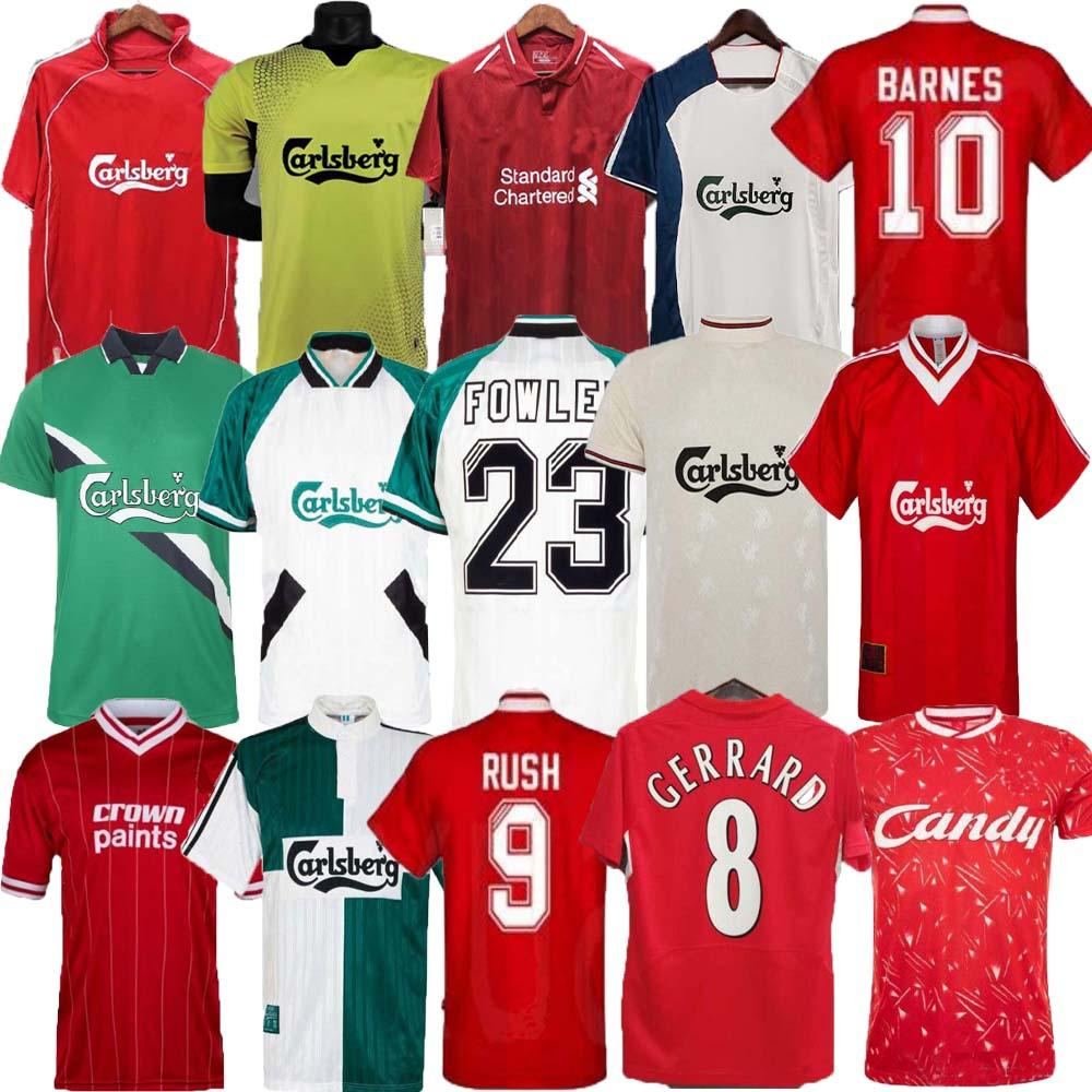 Retro Gerrard Rush Dalglish Classic Soccer Jersey 81 84 85 86 89 90 Rush Barnes 91 92 93 94 95 96 97 98 Camiseta de Fútbol