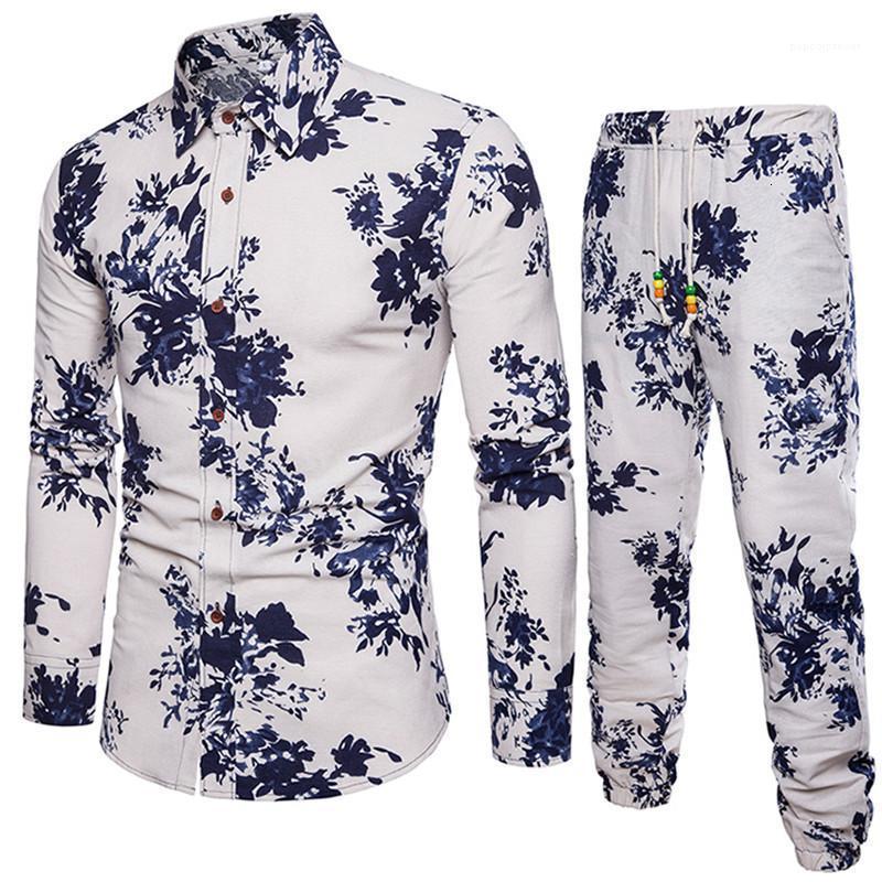 Mâle Vêtements Draps Mélange Mens Designer Tracksuits Automne Imprimer Fashion Pantalon long Casual Set Plus Taille