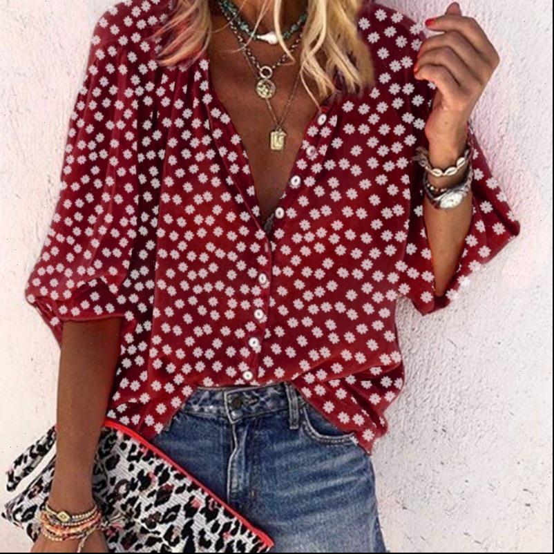 패션 느슨한 캐주얼 하프 여성 셔츠 슬리브 화이트 탑 및 가을 꽃 프린트 플러스 사이즈 5XL Boho Blusas