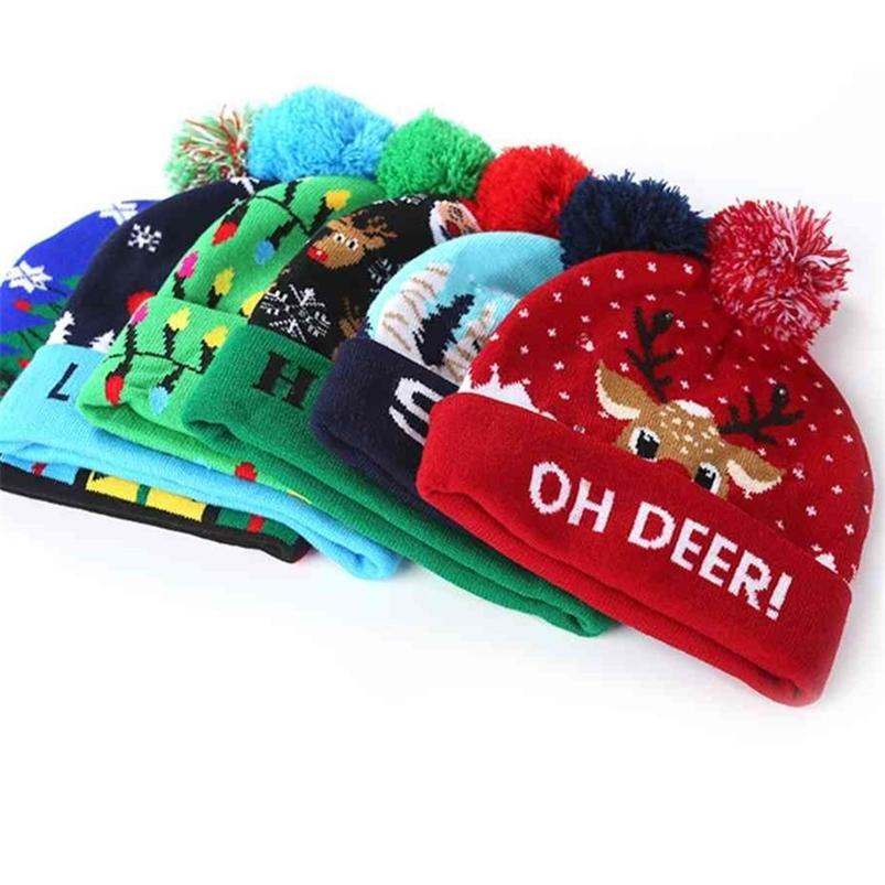 Christmas Printed Children's Knitted Hat With LED Winter Warm Colorful Lights Adult Kids Boys Grils Halloween ELK Santa Crochet Hats H916T5MT