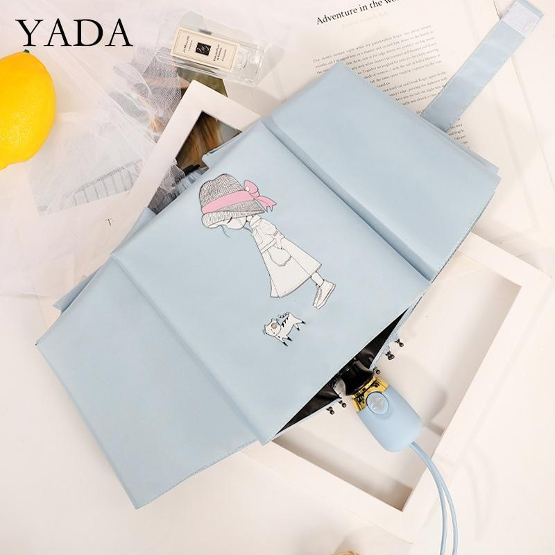 우산 yada ins 만화 girlcat 패턴 여성을위한 자동 우산 비가 UV windproof diy ys200225