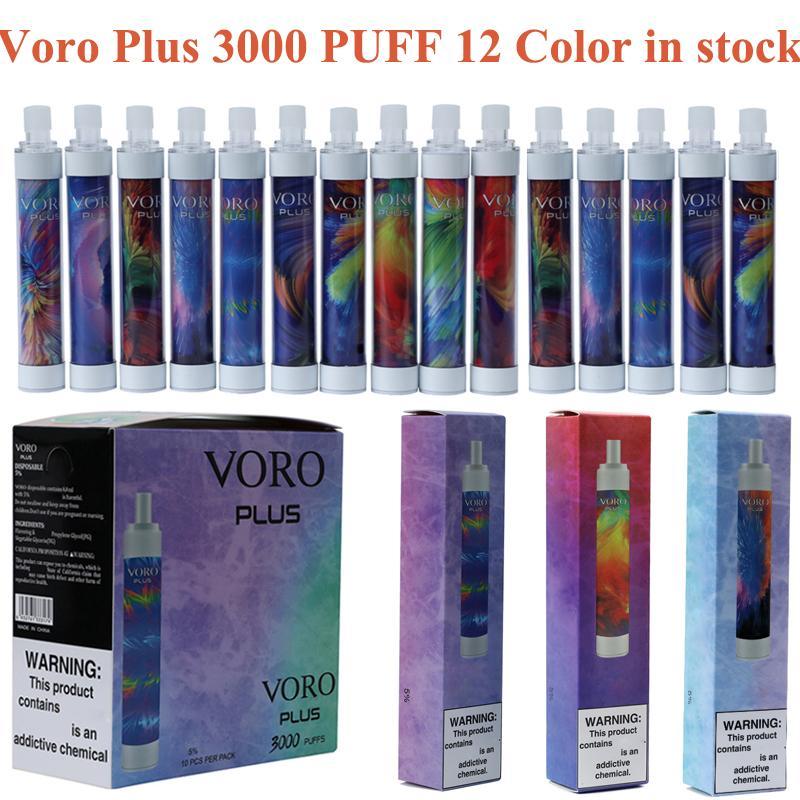 Voro Plus Recargable Vape Vape Pen E Dispositivo de cigarrillo con luz RGB 650mAh batería 4.8ml cartuchos Preumpare 3300 Puffs Vapes Kit vs Dazzle Rey