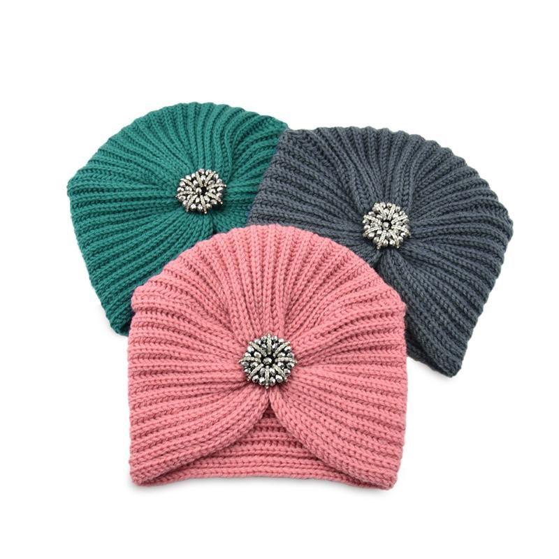 Bohemian Style Winter Winter Hat Brown Drill Belt Punto Europeo y Americano Mujeres Turbans Beanie / Tapas de cráneo