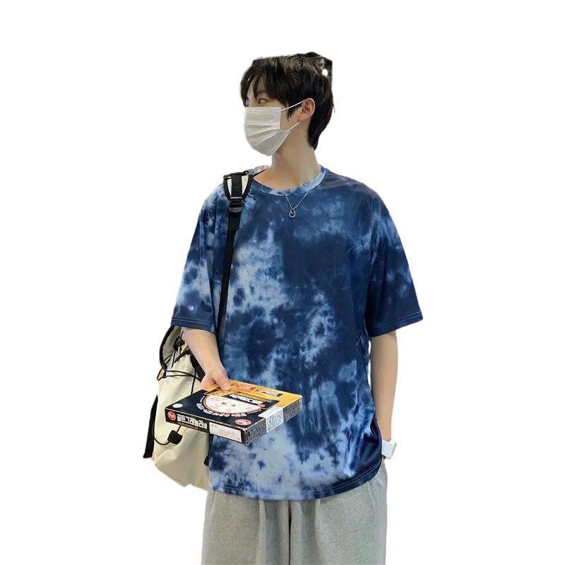 패션 티셔츠 여름 남성 동향 넥타이 염료 라운드 넥 반팔 청소년 캐주얼 한 의류