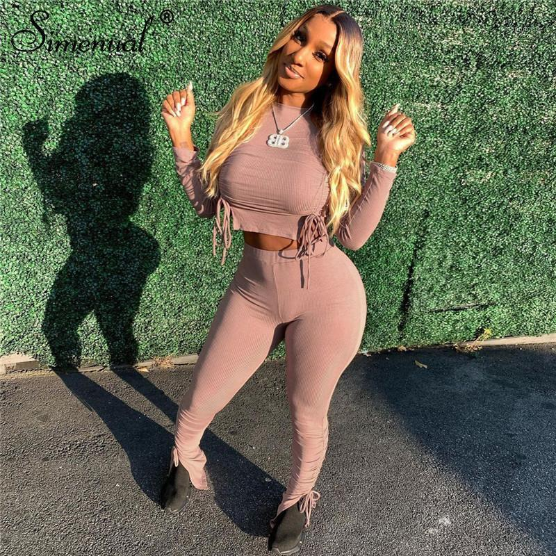 Simenual Fitness Drawstring Long Sleeve Bodycon Two Piece Sets Women Fall 2020 Casual Crop Top And Ruched Pants Matching Set Hot1
