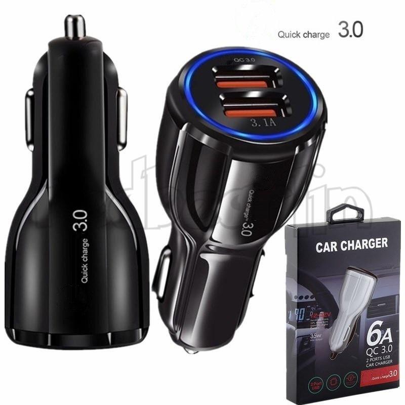 QC 3.0 شاحن سريع Dual USB منافذ 6A محول الطاقة شواحن السيارات التكيفي السريع لسامسونج S8 ملاحظة 8 GPS Tablet