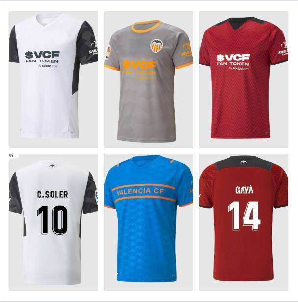 21 22 Valencia CF Futbol Formaları C.Soler 2021 2122 Cutron Gameiro Oliva Gaya Manu Vallejo Futbol Gömlek M.gomez G.Paulista Mens Jersey