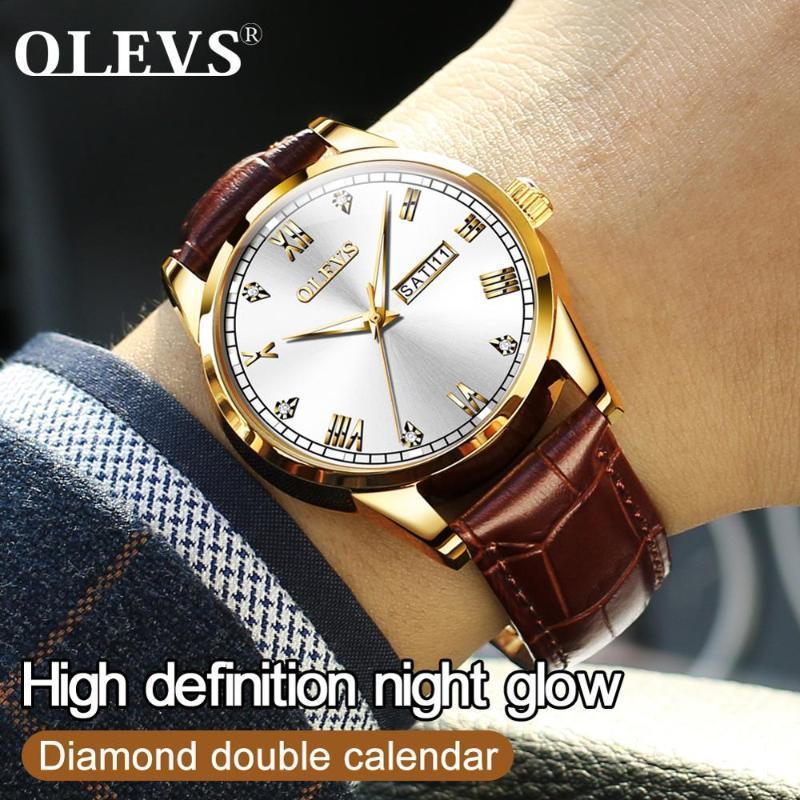 Armbanduhren Top Marke Lässige Männer Watch Leder Mann Quarz Wasserdicht Leuchtende Gold Männliche Uhr Relogio Masculino Römische Ziffern