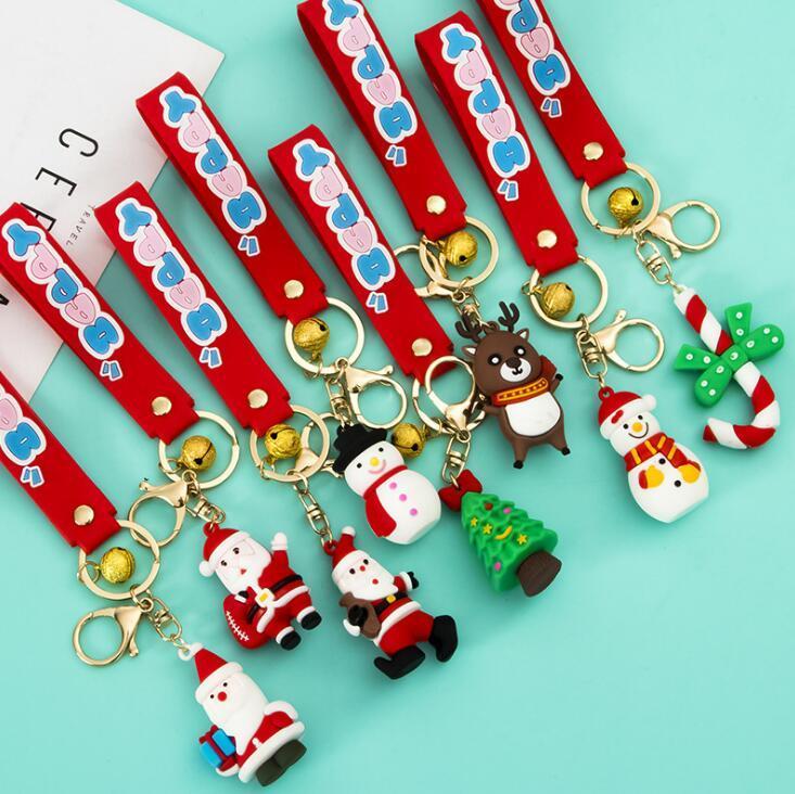 귀여운 크리스마스 시리즈 소프트 실리콘 키 체인 만화 산타 클로스 눈사람 엘크 3 차원 키 펜던트 가방 선물