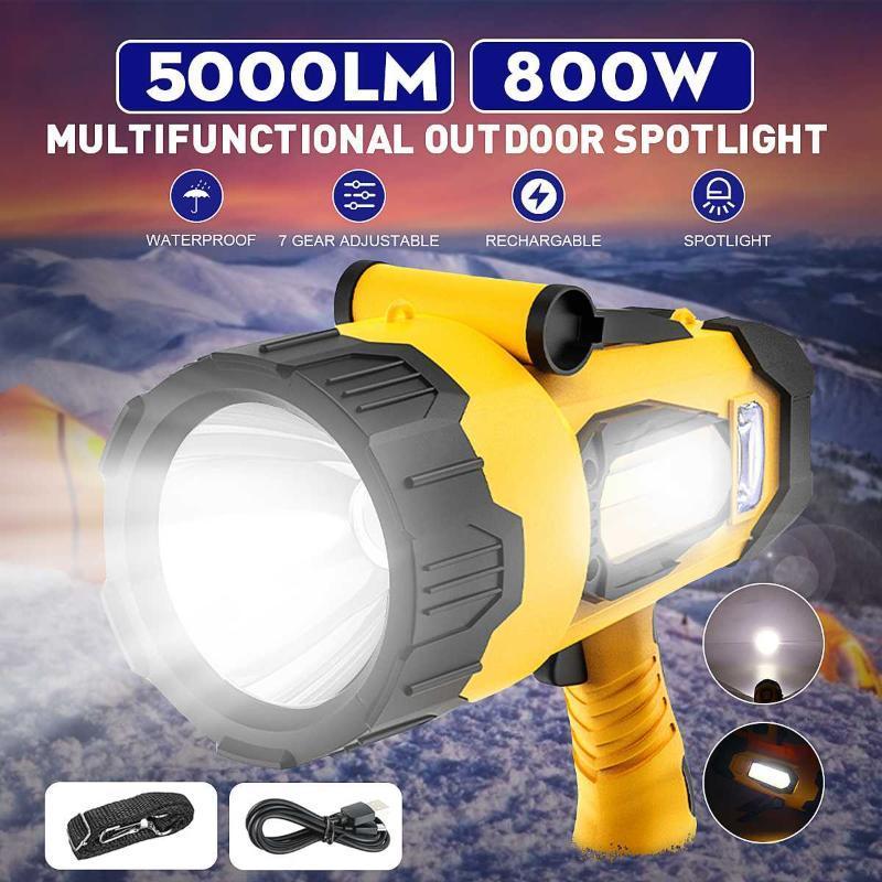 أضواء كاشف محمولة قوية برايت السوبر مع كشاف مضادة للماء قاعدة مشعل USB 5800W 5000LM الفوانيس