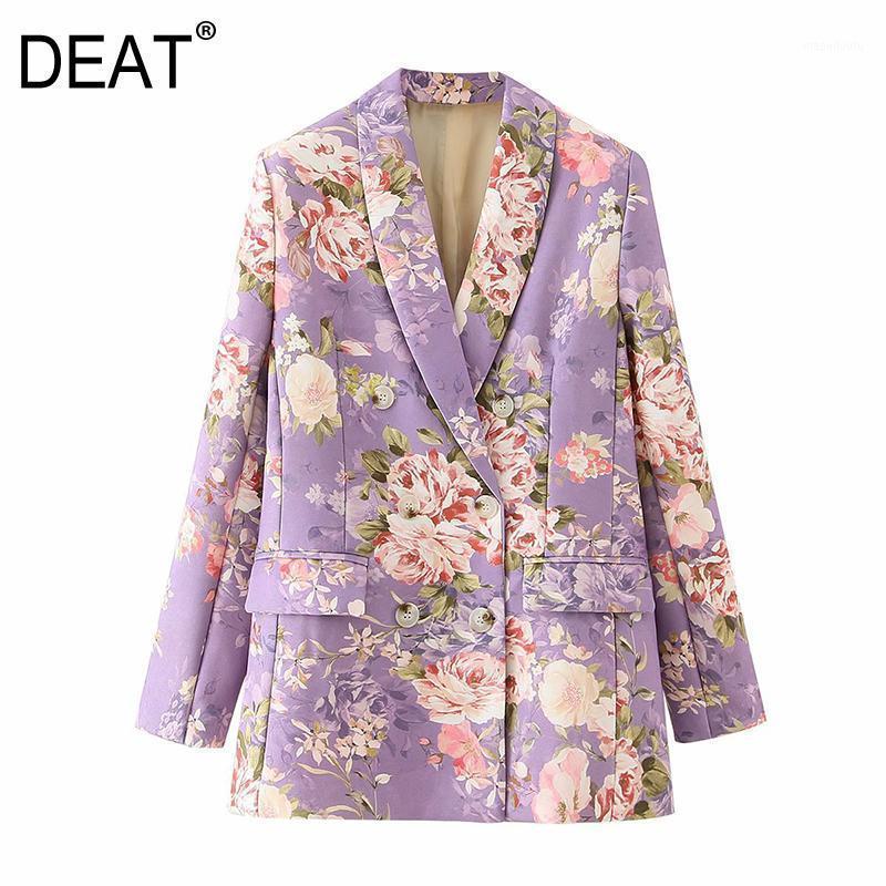 [Deat] Mulheres impressas Misturas Cor Floral Blazer Nova Lapela Manga Longa Loose Fit Jacket Fashion Maré Outono Outono Inverno 2021 13U1451