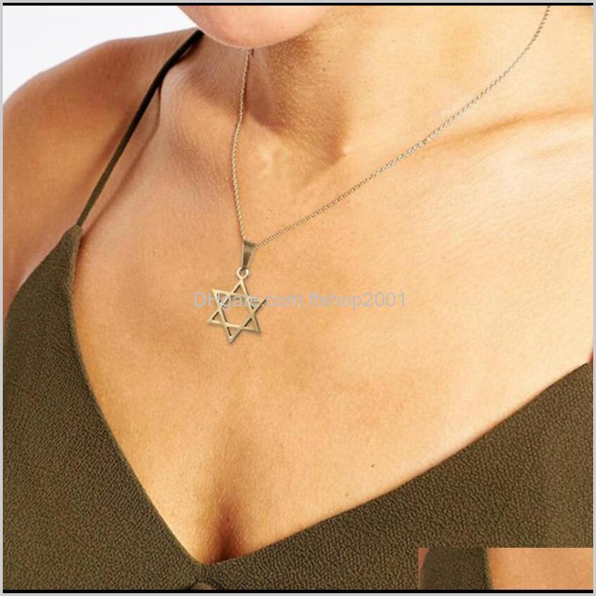Colliers Pendentifs Bijouxypunk Sier / Gold Color Star of David Pendentif Israël Collier Chaîne Femme Inoxydable Steel Judaica Juifs PS0989 DROP