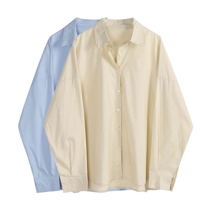 İlkbahar Sonbahar Kadın Gömlek Chic Katı Gevşek Boy Uzun Kollu Bluzlar Kadın Basit Erkek Arkadaşlar Kore Tarzı Blusa Tops 210402