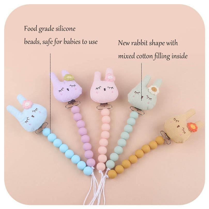 Baby Pacifier Holders Chain Clips Weaning Teething Kids Chew Toy Accessories Silicone Beads Cartoon Newborn Teeth Practice Toys Infant Feeding B8138