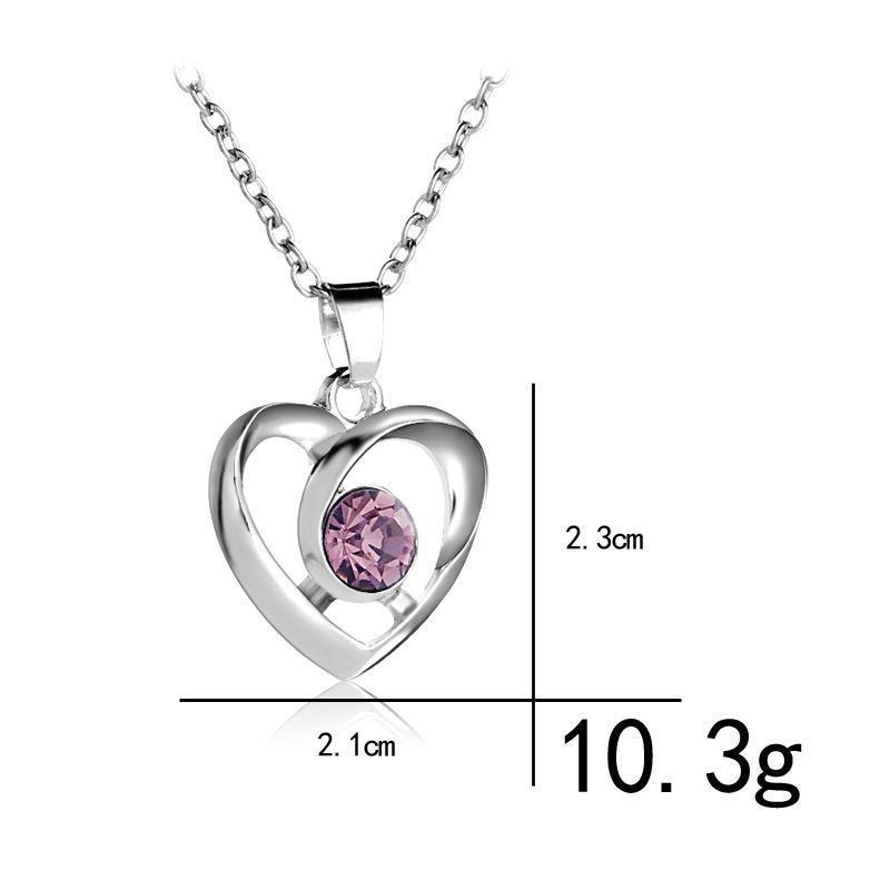 Lucky Hollow Love Heart Einfache farbige Zirkon Anhänger Halskette Frau Mutter Mädchen Geschenk Hochzeit Segen Schmuck Halsketten