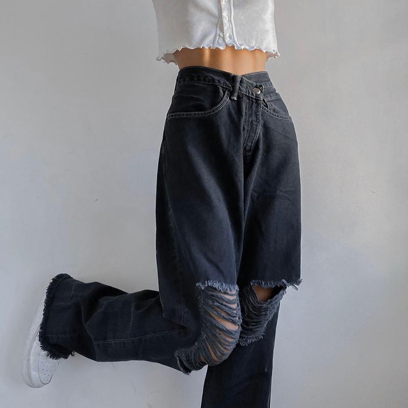 Streetwear Black Y2K Hole Ripped Woman Jeans Straight Loose Denim Pants Casual Trousers Boyfriend Style Baggy Women's