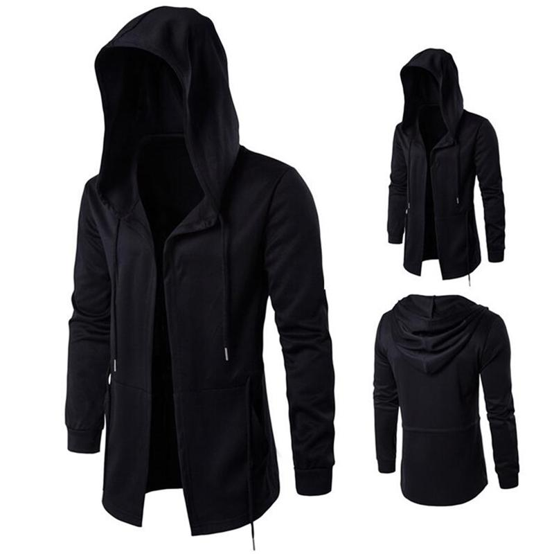 Longues Design Sweats à capuche Homme Mode Hip Hop Sweat-shirt Streetwear Black Robe Black Manteaux Hommes Capuche Capuchon Mantle Sweats à capuche 5xL Sweatshirts 210728