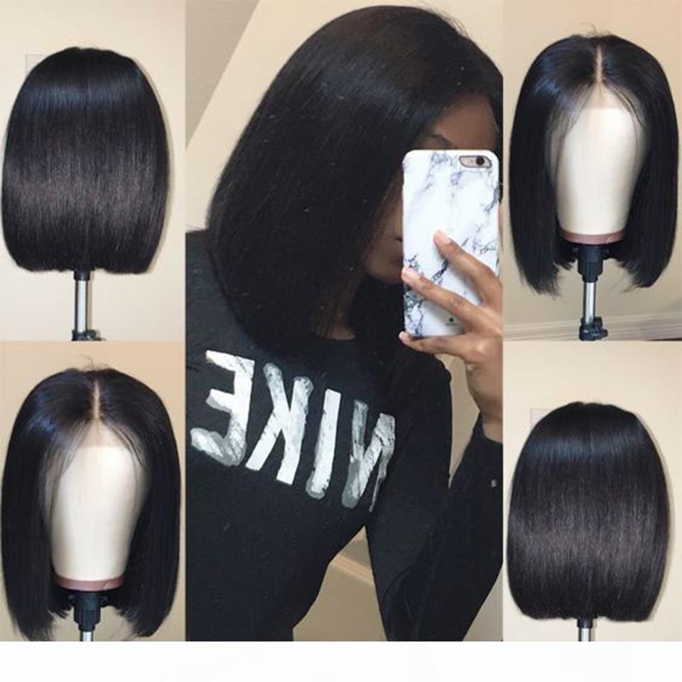 Perruques de cheveux humains de dentelle pour femmes noires cheveux brésiliens courte perruque droite perruque naturelle Bob brillant perruque sans glualité