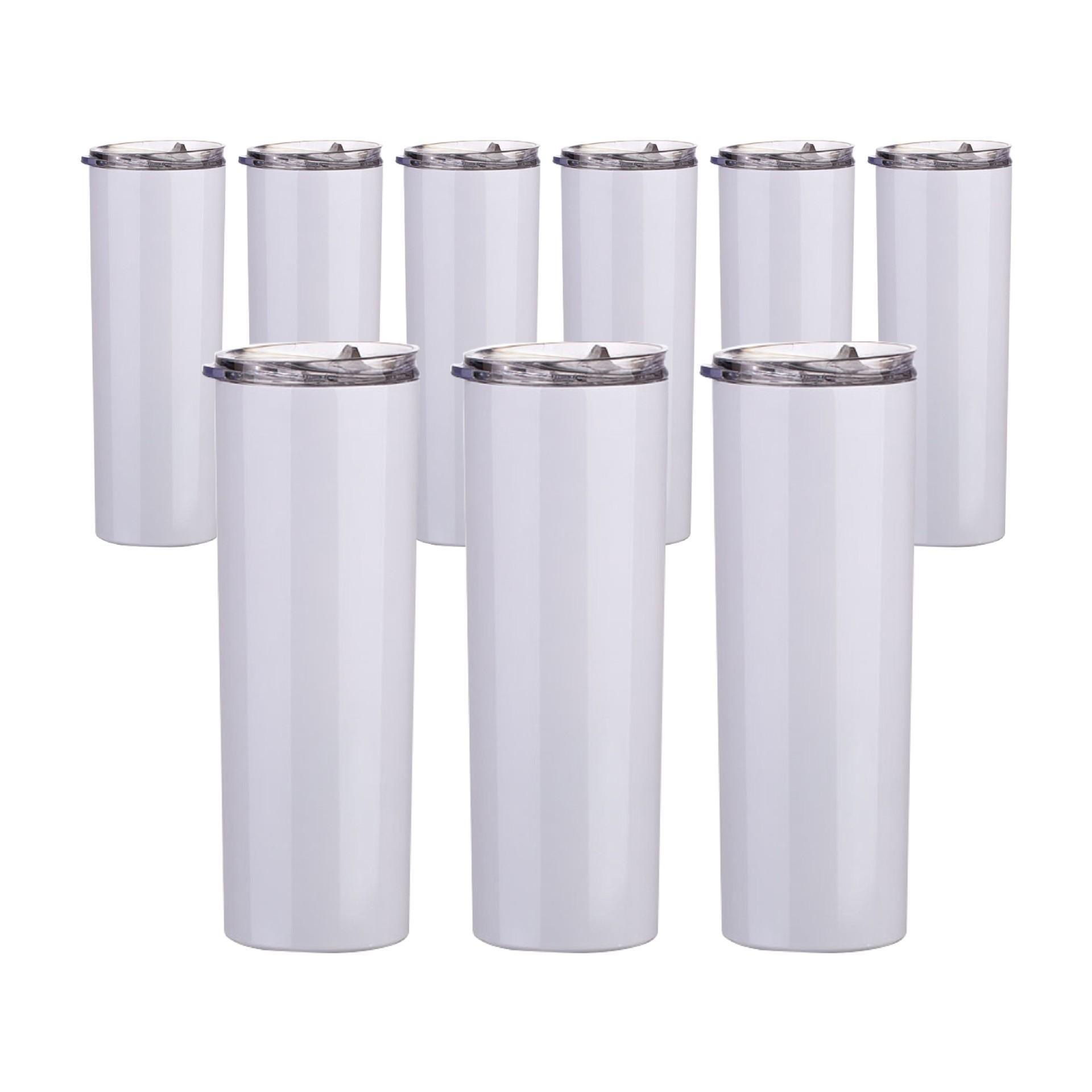 20oz 30oz 승화 레이저 인쇄 빈 흰색 스트레이트 짚 머그컵 텀블러 컵 스테인레스 스틸 이중 벽 진공 절연 물병 맞춤형 로고