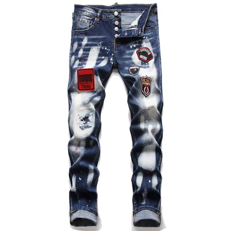 الرجال يتأهل مستقيم الساق جينز بسط ممزق شارة نحيل الرجال الدينيم السراويل 5 جيب منتظم القطن جان دمرت ثقب الملابس بانت الهيب هوب السراويل عارضة 1233