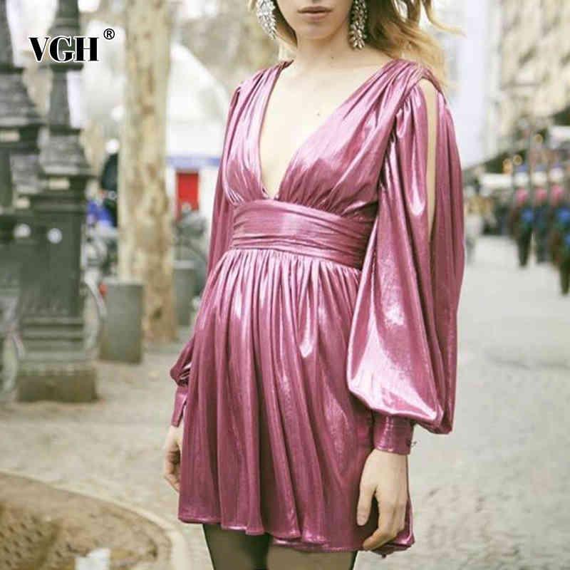 VGH Pembe Seksi Elbise Kadın V Boyun Fener Uzun Kollu Backlessside Split One Off Omuz Yüksek Bel Tunik Güz Elbise Kadın 210421