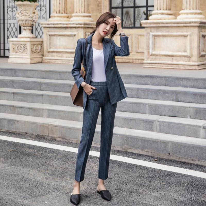 Women's Suits & Blazers Women'ssuit 2021 Autumn And Winter Fashion Casual Temperament Slim Wild Stripes Single Buckle Small Suit Trousers Tw