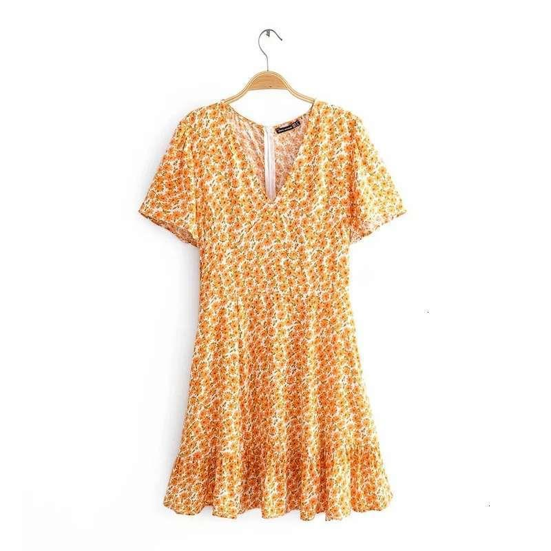 Kleider Frühlingsdruck Casual Ruffle Rock Stil Slim Kurzarm Kleid