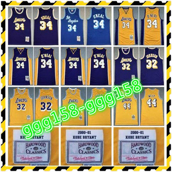 NCAA Mitchell ve Ness Jersey Basketbol 32 Johnson 34 Shaquille Oneal O Neal 44 Jerry Batı Sarı Mor Mavi Takım Rengi Gerileme Vintage 1996 1997 19711972 Yıl