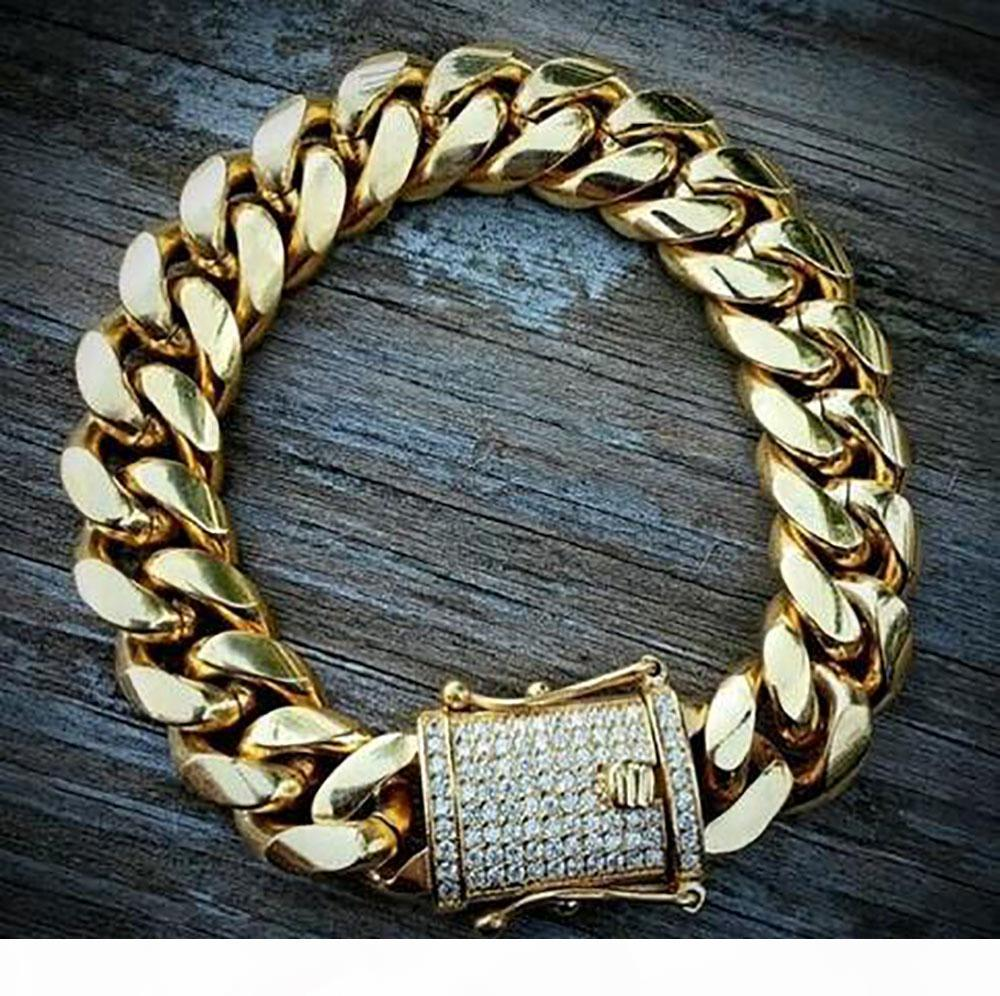 Mens 18K Gold Tone 316L Stainless Steel Cuban Link Chain Necklace Curb Cuban Link Chain with Diamonds Clasp Lock 8mm 10mm 12mm 14mm 16mm 18m