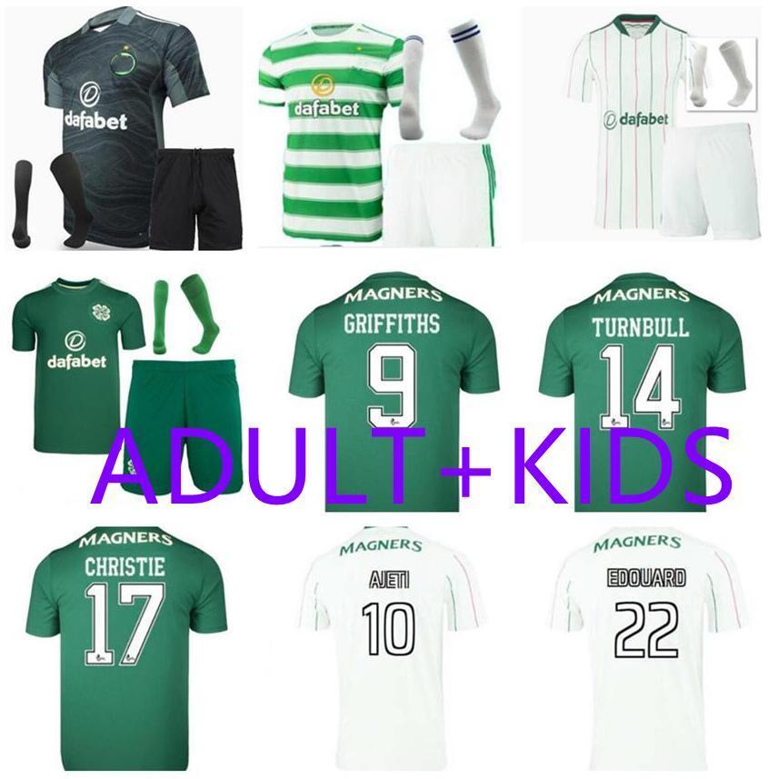 Adulto Crianças 21 22 Celtic Third Black McGregor Griffiths Futebol Jerseys 2021 2022 Sinclair Forrest Brown Rogic Christie Criança Futebol Camisas