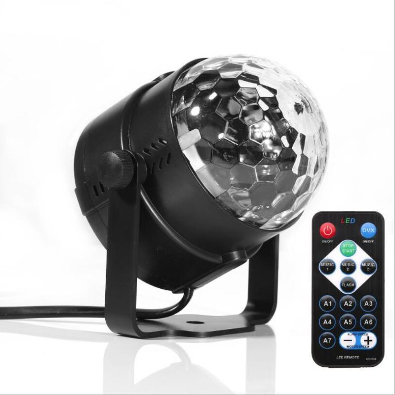 Effects Mini RGB 3W Crystal Magic Ball Led Stage Lamp DJ KTV Disco Laser Light Party Lights Sound IR Remote Control Christmas Projector