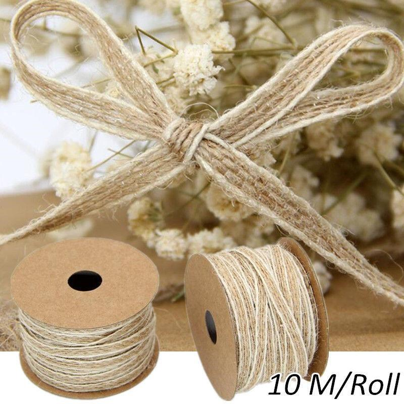 10M/Roll Jute Burlap Rolls Hessian Ribbon With Lace Vintage Rustic Wedding Decoration Party DIY Crafts Christmas Gift Packaging