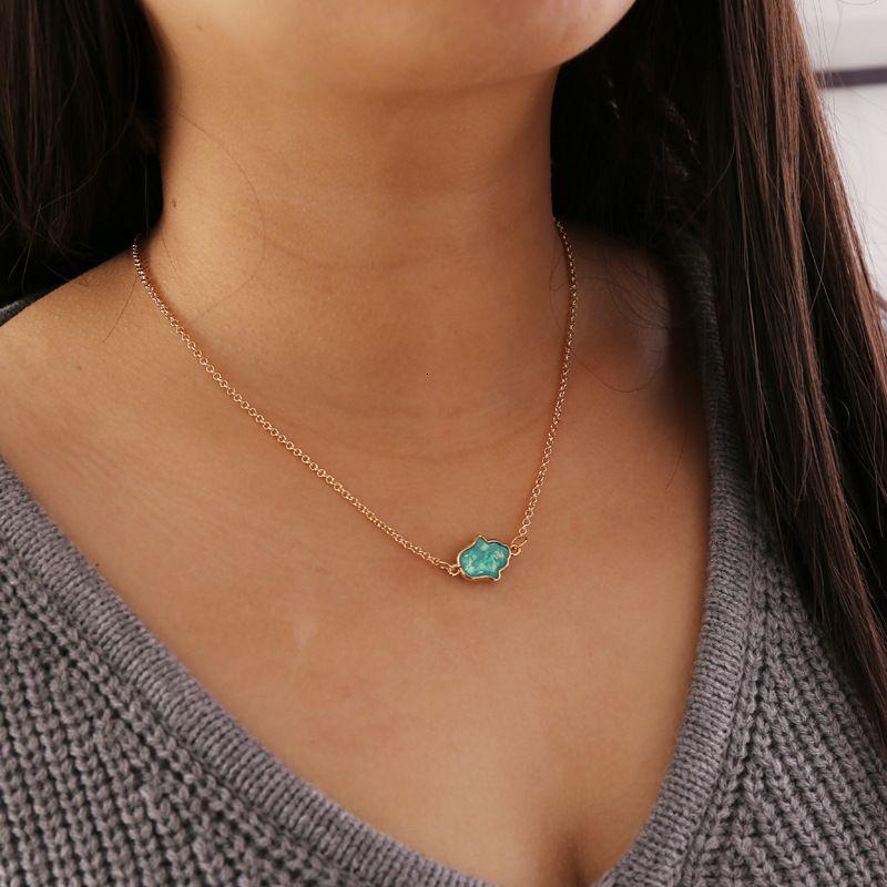 مجوهرات بسيط نصف النخيل قلادة المرأة أزياء شخصية مجوهرات الإبداعية N678