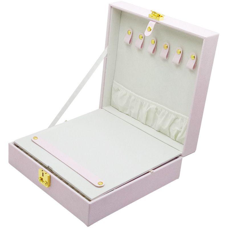 2021 جديد بو الجلود بسيطة تخزين مربع مجوهرات مع قفل أقراط قلادة هدية تغليف مربع الحالات يعرض