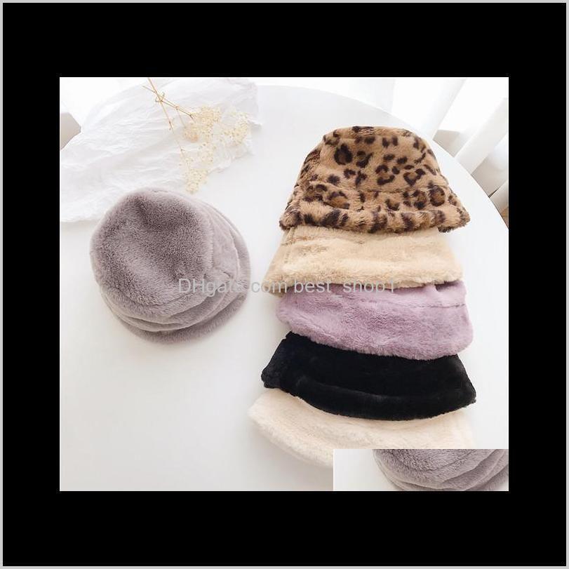 Caps Hats Ins 6 Colors Kids Autumn And Winter Rabbit Fur Leopard Korean Children Fisherman Baby Plush Bucket Hat Yw7Rn Fvwrd