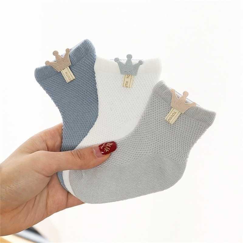 3 Çift / grup Bebek Mesh Ince Pamuk Modelleri Erkek Kız Kemiksiz Sütür Doğan Aksesuarları Çocuk Çorap Y201009