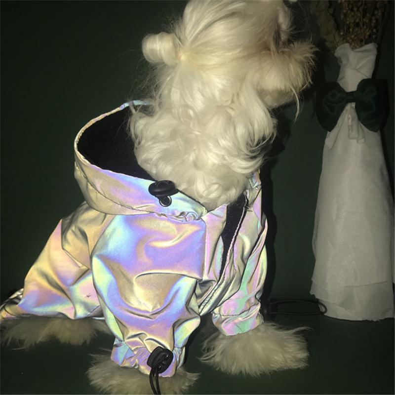 Trendy Personality Reflective Dog Apparel Winter Fall Warm Designer Pet Costume Hooded Jacket Dogs Attire