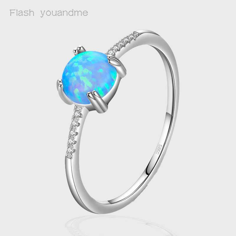 Real 925 Sterling Silver Rings Round Exquisite Charm Sparkling Opal Finger Ring Fashion Female Jewelry For Women Accessories Y0723